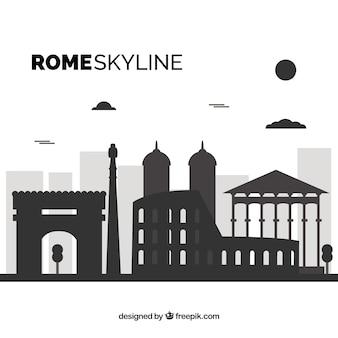 Orizzonte in bianco e nero di roma