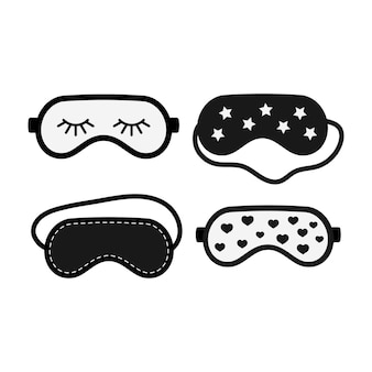 Black and white sleep beauty masks icon set isolated on white background. eye protection wear accessory. relaxation blindfolds with heart, star. eye cover flat design cartoon vector illustration