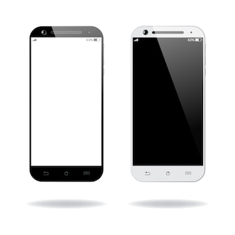 Black and white smartphones mockups