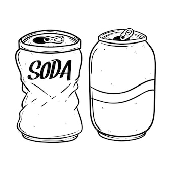 Black and white soda can