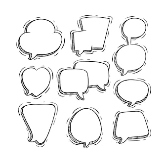 Black and white speech or chat bubbles with doodle style