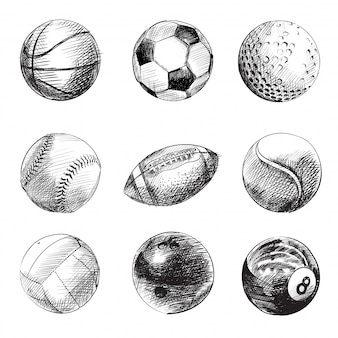 Black and white sport balls set