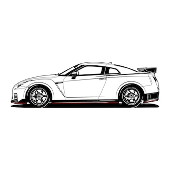 Black and white sport car hand drawn