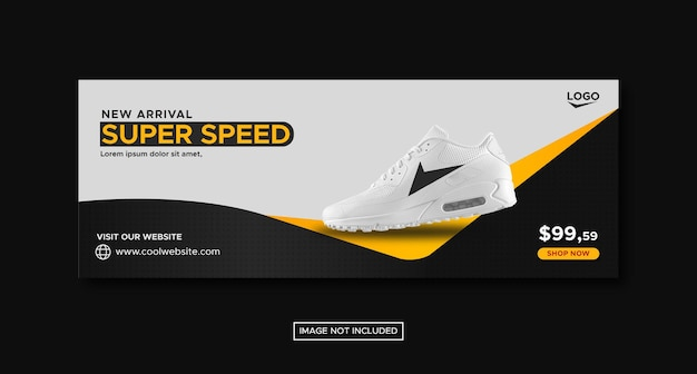 Black and white sport shoes promotion social media facebook post banner template