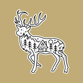 Black and white sticker, with schene inside the deer.