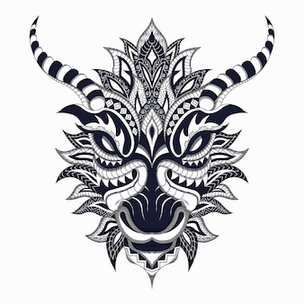 Black and white stylized dragon in ethnic vector