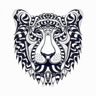 Black and white stylized lion zentangle vector
