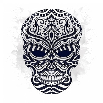 Black and white stylized skull in ethnic stylevector