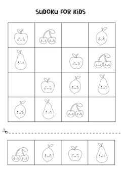 Black and white sudoku for preschool kids. logical game with cute fruits.