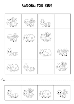 Black and white sudoku for preschool kids. logical game with cute insects.