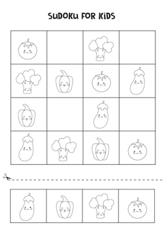 Black and white sudoku for preschool kids. logical game with cute vegetables.