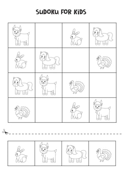 Black and white sudoku for preschool kids. logical game with farm animals.