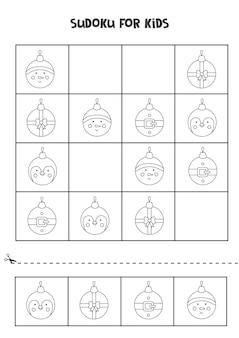 Black and white sudoku with christmas balls for preschool kids. logical game.