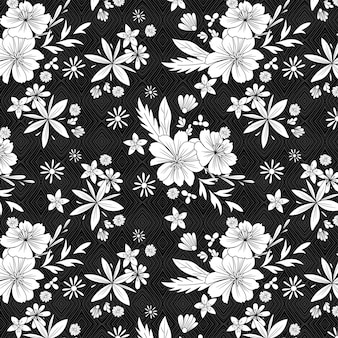 Black and white sunny flower pattern