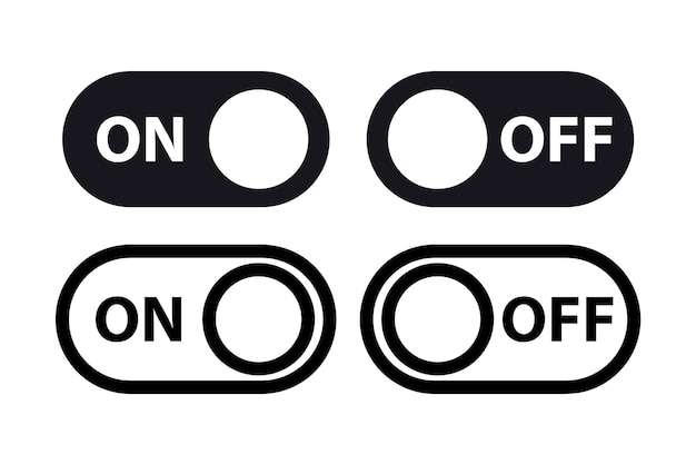 Black and white switch buttons on off toggle switcher controller on and off toggle switch button