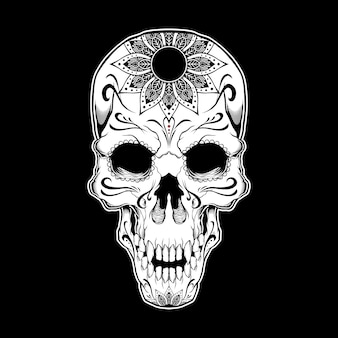 Black and white tattoo skull illustration