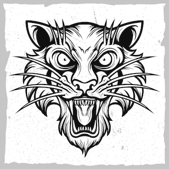 Black and white tiger head emblem