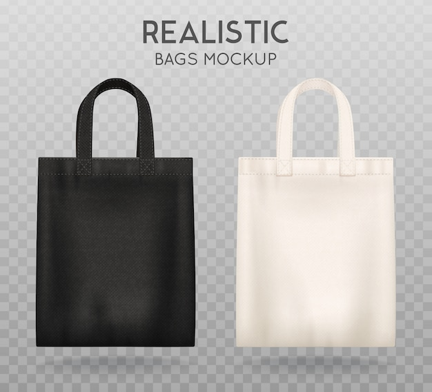Black and white tote shopping bags