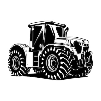 Black and white tractor hand drawn