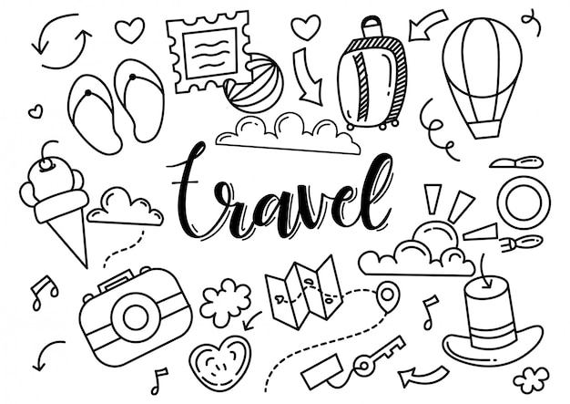 Black and white travel set doodle illustration