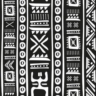 Black and white tribal doodle vector seamless pattern. aztec abstract geometric art print. ethnic hipster backdrop. wallpaper, cloth design, fabric, paper, cover, textile. hand drawn.