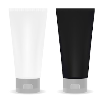 Black and white tube for cream or another cosmetic. isolated