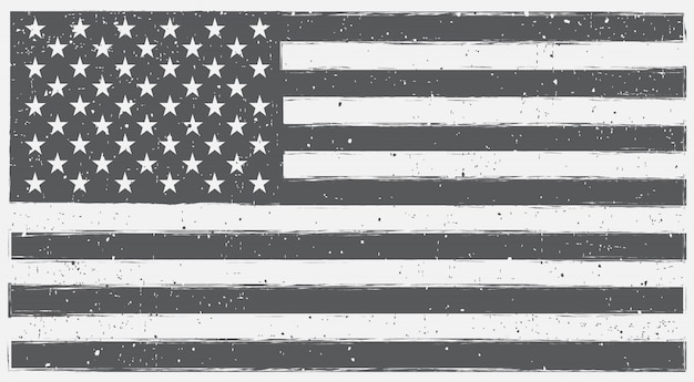 Black and white usa flag in grunge style