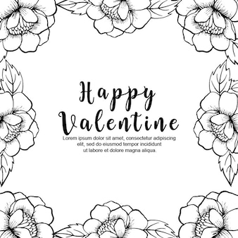 Black and white valentine floral background