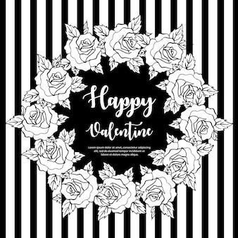 Black and white valentine wreath