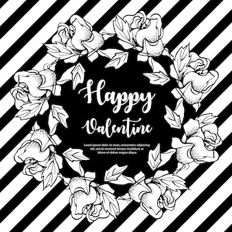 Black and white valentine wreath