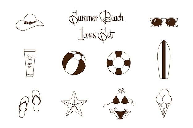Black and white vector collection of sea vacation flat icons. outline summer icons for holiday beach leisure