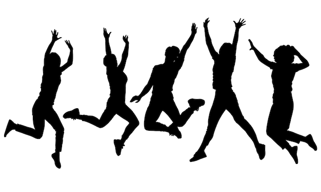 Black and white vector female silhouettes for clipping jumping people activity and joy