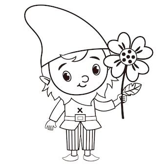 Black and white vector gnome character is holding a flower