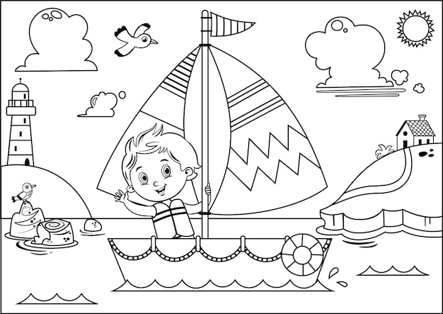 Black and white vector illustration of a boys sailing adventure
