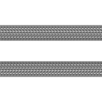 Black and white vector illustration of car tires tracks