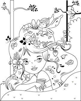 Black and white vector illustration of a fairy girl and her little friend