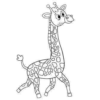 Black and white vector illustration of a giraffe