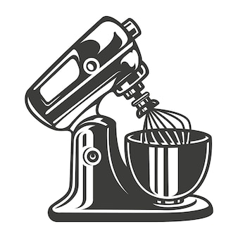 Black and white vector illustration of a mixer on white background.