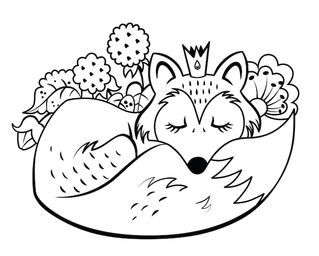 Black and white vector illustration of a sleeping fox