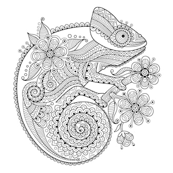 Black and white vector illustration with a chameleon in ethnic patterns