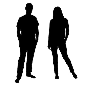 Black and white vector silhouettes of people for clipping family