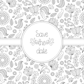 Black and white vector wedding invitation card in floral frame and text save the date.