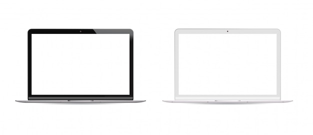 Black and white version laptop pc set white lcd