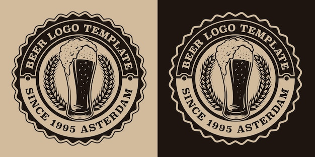 Black and white vintage beer emblem with a glass of beer
