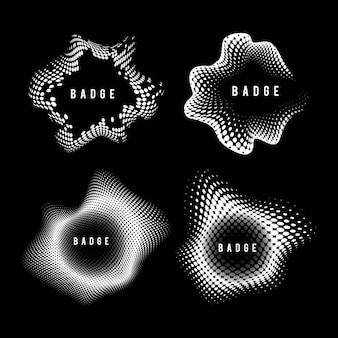 Black and white vintage halftone badge vector set