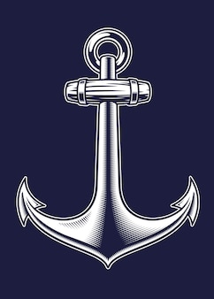 Black and white vintage illustration of an anchor on the dark background