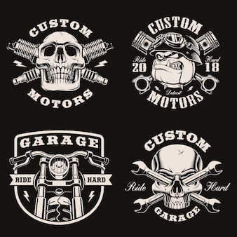 Black and white vintage motorcycle emblems on dark