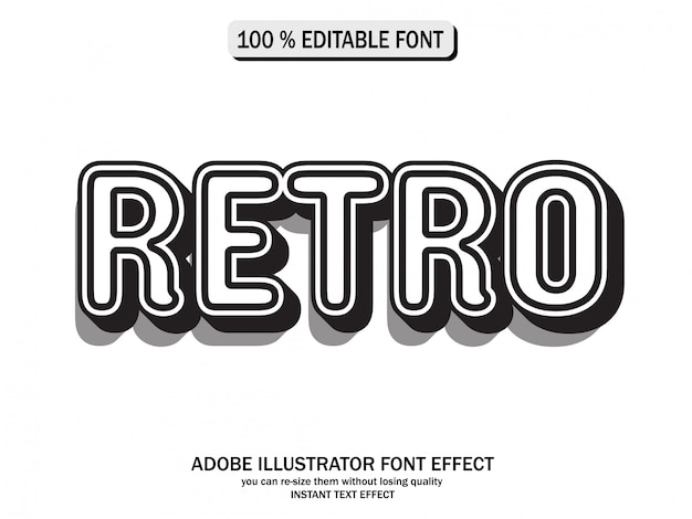Black and white vintage text style, futuristic effect and editable text