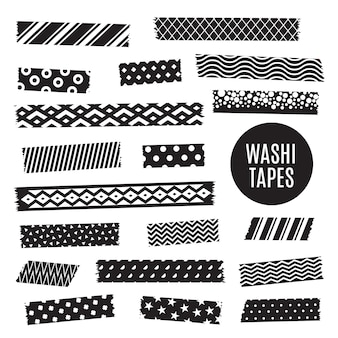Black and white washi tape strips