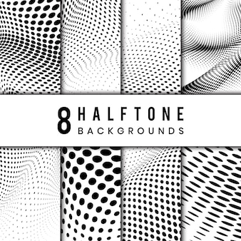 Black and white wavy halftone background vector set